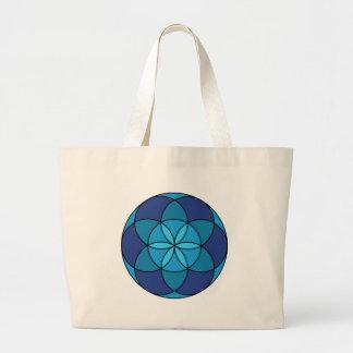 seed of life blue on blue jumbo tote bag