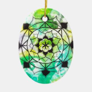 Seed of Life Mandala Ceramic Oval Decoration