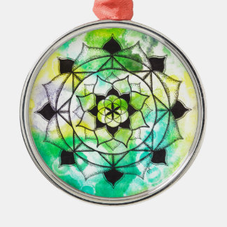 Seed of Life Mandala Silver-Colored Round Decoration