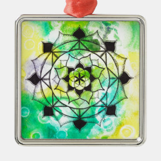 Seed of Life Mandala Silver-Colored Square Decoration