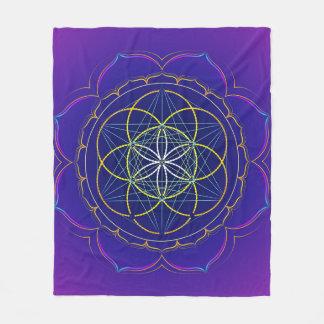 Seed of Life yantra & Metatron's cube mandala Fleece Blanket