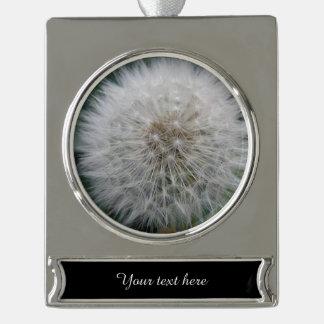 Seeding Dandelion Flower Customizable Ornament Silver Plated Banner Ornament