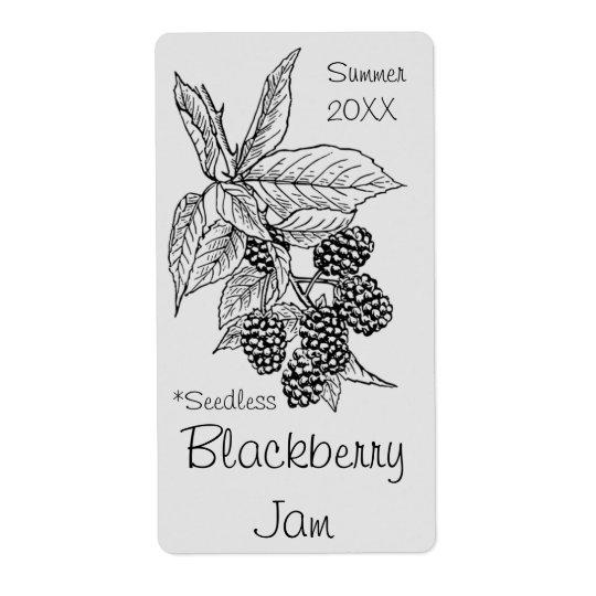Seedless Blackberry Jam Jar Label (Customise)