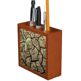 Seedling In Cracked Earth Desk Organiser