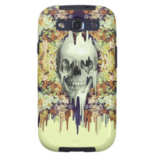 Seeing Color, yellow melting floral skull Samsung Galaxy SIII Covers