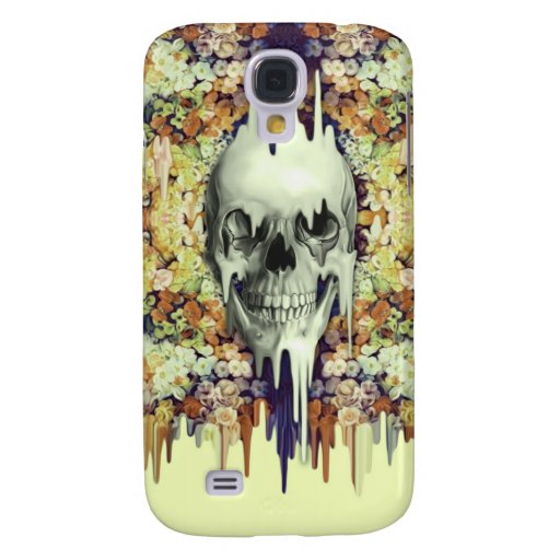 Seeing Color, yellow melting floral skull HTC Vivid Case