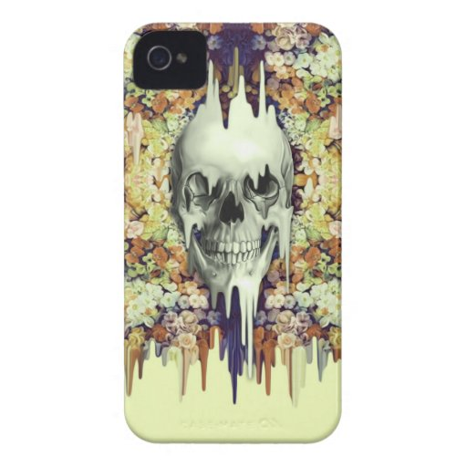 Seeing Color, yellow melting floral skull iPhone 4 Case