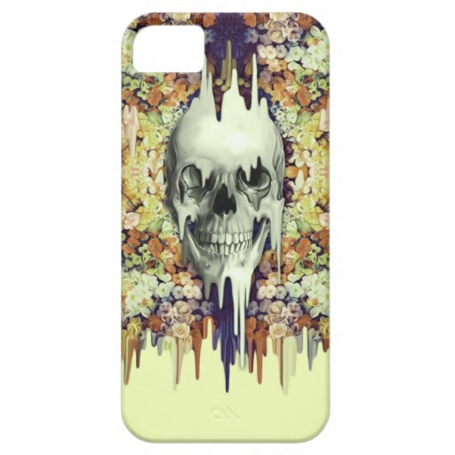Seeing Color, yellow melting floral skull iPhone 5/5S Case