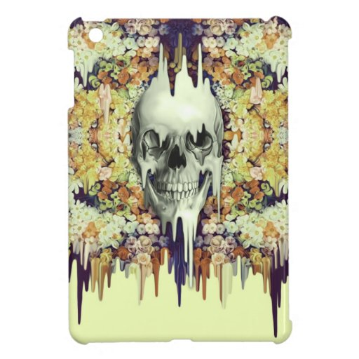 Seeing Color, yellow melting floral skull iPad Mini Cover