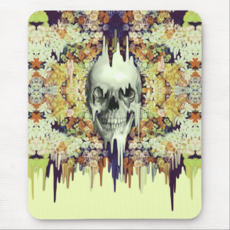 Seeing Color, yellow melting floral skull Mouse Pad