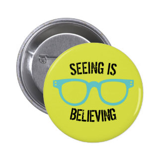 Seeing Is Believing Lime Green & Blue Glasses Pin