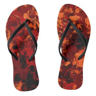 SEEING RED (an abstract art design) ~.jpg Flip Flops