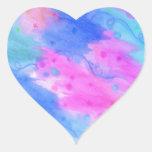 SEEING STARS 1 - Light Blue Pretty Starry Sky Abst Heart Sticker