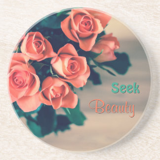 Seek Beauty Sandstone Drink Coaster