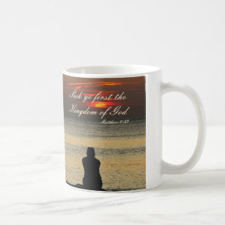 Seek First Kingdom of God, Matthew 6, Ocean Sunset Coffee Mug