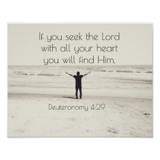 Seek the Lord, Bible Verse Deuteronomy, Beach Poster