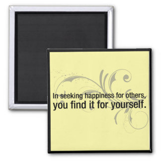 'Seeking happiness' inspirational quote magnet