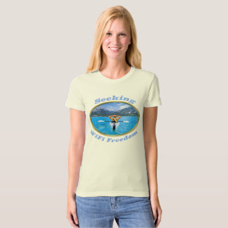 Seeking WiFi Freedom Kayaker Design T-Shirt