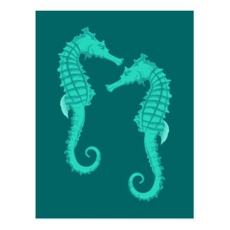 Seepferdchen sea horses postcard