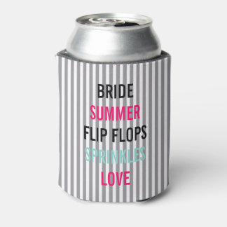 Seersucker Summer Bride Sprinkle Party Can Cooler