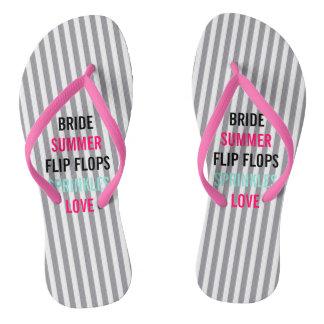 Seersucker Summer Bride Sprinkle Party Flip Flops