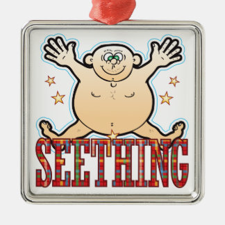 Seething Fat Man Silver-Colored Square Decoration
