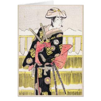 Segawa Kikunojo III as a Samurai Katsukawa Shunsho Note Card