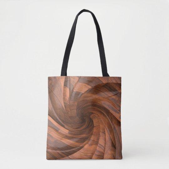 Segmented wood design tote bags