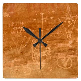Sego Canyon Petroglyphs - Thompson Springs - Utah Square Wall Clock