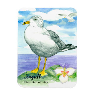 Sego Lily Seagull State Bird of Utah Magnet