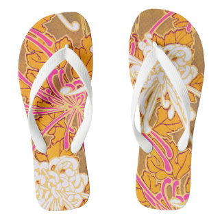 Séguy's Art Deco Pink and White Flowers Flip Flops
