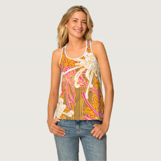 Séguy's Art Deco Pink and White Flowers Tank Top