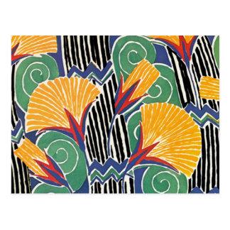 Seguy's Art Deco Golden Flowers Postcard