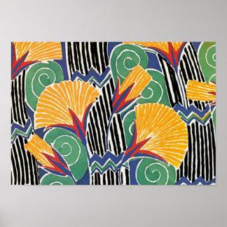 Seguy's Art Deco Golden Flowers Poster