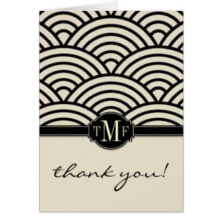 Seigaiha Monogram Thank You Cards