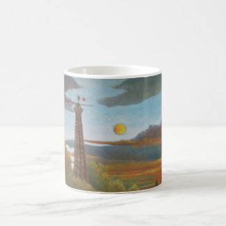 Seine and Eiffel Tower at Sunset by Henri Rousseau Basic White Mug