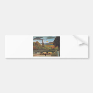 Seine and Eiffel tower in the sunset by Henri Rous Bumper Sticker