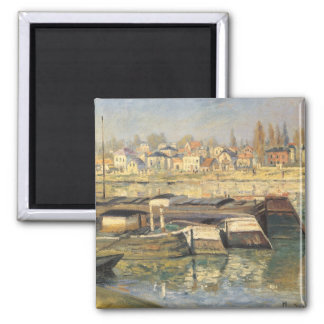 Seine at Asnieres by Monet, Vintage Impressionism Square Magnet