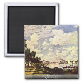 Seine Basin At Argenteuil By Claude Monet Square Magnet