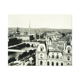 Seine Eiffel Tower Paris Bridges Cityscape Mansard Stretched Canvas Print