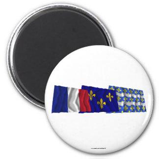 Seine-et-Marne, Île-de-France & France flags 6 Cm Round Magnet