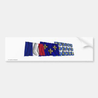 Seine-et-Marne, Île-de-France & France flags Bumper Sticker