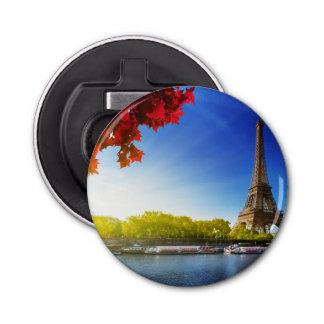 Seine In Paris With Eiffel Tower In Autumn Time Bottle Opener