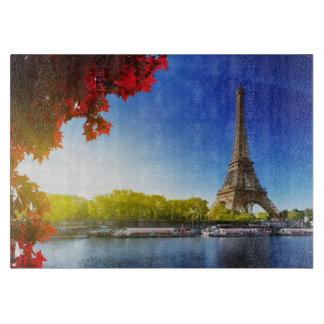 Seine In Paris With Eiffel Tower In Autumn Time Cutting Board