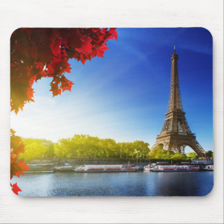 Seine In Paris With Eiffel Tower In Autumn Time Mouse Mat