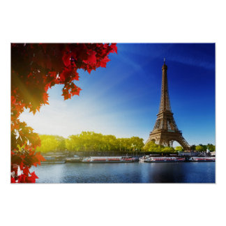 Seine In Paris With Eiffel Tower In Autumn Time Poster