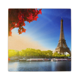 Seine In Paris With Eiffel Tower In Autumn Time Wood Coaster