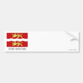 Seine-Maritime flag with name Bumper Sticker