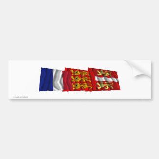Seine-Maritime, Haute-Normandie & France flags Bumper Sticker
