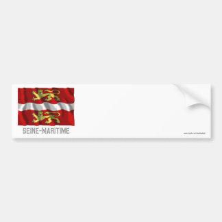 Seine-Maritime waving flag with name Bumper Sticker